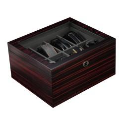 Bælteboks / træ boks med 8 store rum og glasrude