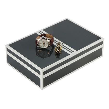 Smykkeskrin / urboks i antracit farvet træ til 4 ure og smykker