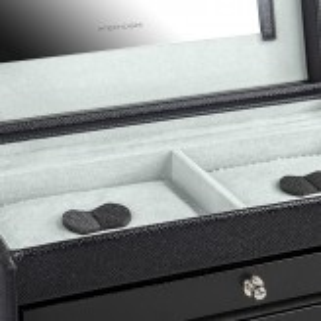 Friedrich smykkeskrin i sort lædermed Saffiano mønster