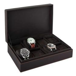 BECO urboks / urkasse i ægte brun læder - luksus opbevaring af 8 ure