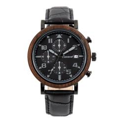 LINDENÆS Træ ur i naturligt sort sandel træ - trendy 43 mm kronograf herreur