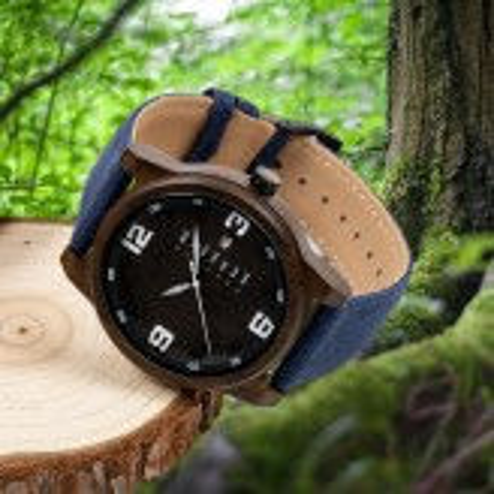 LINDENÆS Træ ur i bæredygtigt sort sandel træ - smart 45 mm herreur