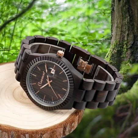 LINDENÆS Træ ur i naturligt sort sandel træ - flot 44 mm herreur