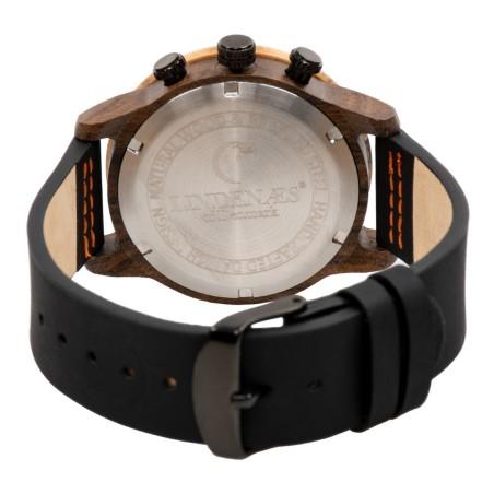 LINDENÆS Træ ur i ægte oliven træ - moderne 41 mm kronograf unisex ur