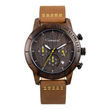 LINDENÆS Træ ur i ægte sort sandel træ - moderne 41 mm kronograf unisex ur