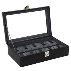 Friedrich urkasse i ægte sort læder - med rude og plads til 10 ure