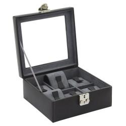 Friedrich urkasse i ægte sort læder - med rude og plads til 6 ure