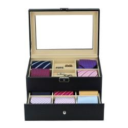 LINDENÆS slipse boks til 10 slips og smykker - smart carbon fiber look