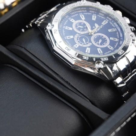 Urboks / urkasse i sort læder - opbevar 10 store ure