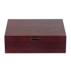 Urkasse / urboks til 8 store ure i rød brun træ finer