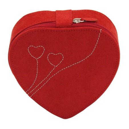 Friedrich hjerteformet smykkeskrin rød med spejl og lynlås