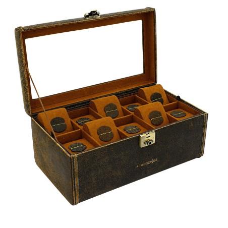 Friedrich urboks i ægte rustik brun læder - til 20 ure