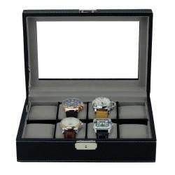 Urboks / urkasse sort læder med rude til 8 store ure