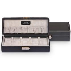 SACHER luksus urkassse / urboks i ægte sort læder - opbevar 5 ure