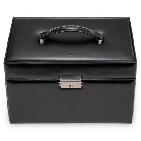 Sacher luksus smykkeskrin i ægte sort læder