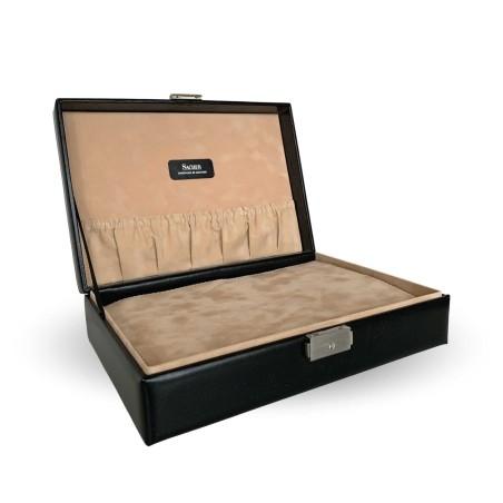 SACHER urkassse / urboks i ægte sort læder - opbevar 12 ure