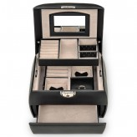SACHER smykkeskrin Selina trendy design i sort læder