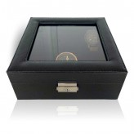 LINDENÆS urboks / urkasse til 6 ure - sort cross grain læder og sort interiør