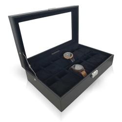 LINDENÆS urboks / urkasse til 12 ure - moderne sort cross grain læder