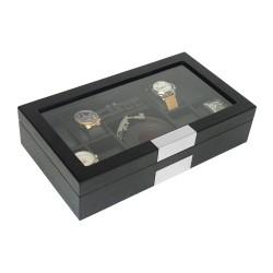 LINDENÆS urkasse / urboks mat sort træfiner opbevar 8 ure og smykker