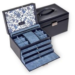 SACHER luksus smykkeskrin Jasmin i ægte blå læder