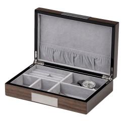 Smykkeskrin i asketræ til manchetknapper - ringe - smykker