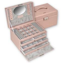 SACHER luksus smykkeskrin Lena i ægte rosa farvet italiensk læder