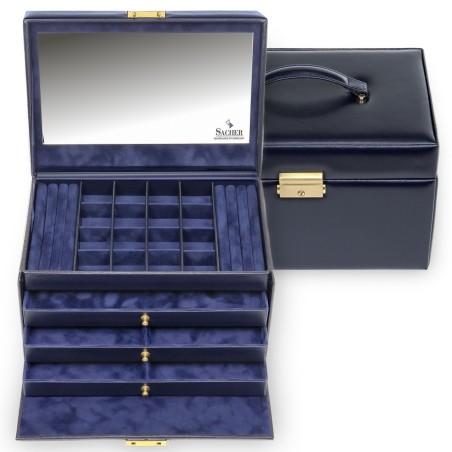 SACHER luksus smykkeskrin Lena i ægte marine blå farvet italiensk læder