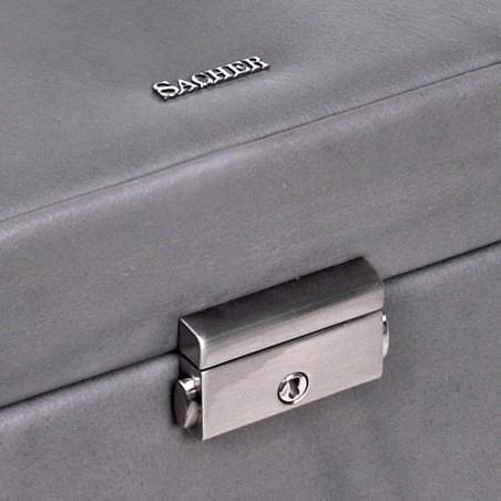 SACHER luksus smykkeskrin Lena i ægte grå læder