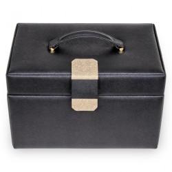 SACHER luksus smykkeskrin Lena i elegant sort læder med Saffiano mønster