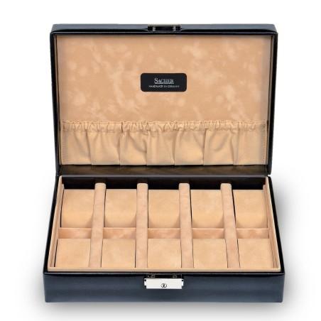 SACHER luksus urkassse / urboks i ægte sort læder - opbevar 10 ure