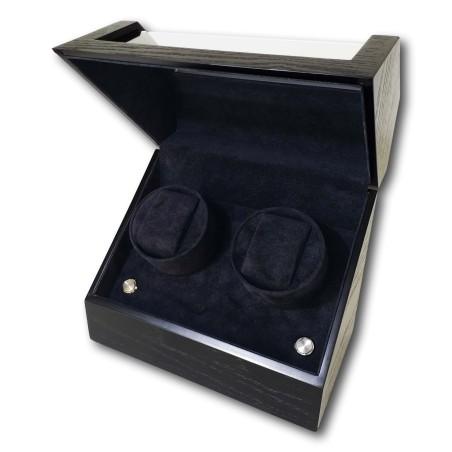 LINDENÆS luksus watch winder / urbevæger 2 ure - mat sort træ - 230V eller batteri