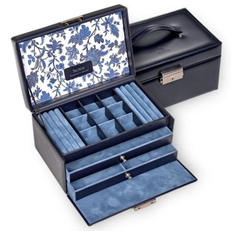SACHER smykkeskrin Elly i ægte blå læder - flot blomster motiv