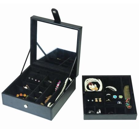 LINDENÆS smykkeskrin sort læder og sort indtræk - opbevar mange smykker