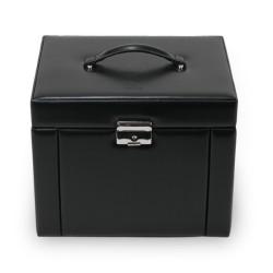 SACHER luksus smykkeskrin Maxima i ægte sort læder