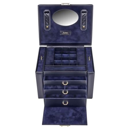 SACHER luksus smykkeskrin Marta i ægte mørk blå læder