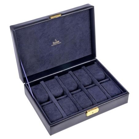 SACHER luksus urkassse / urboks i ægte blå læder - opbevar 10 ure