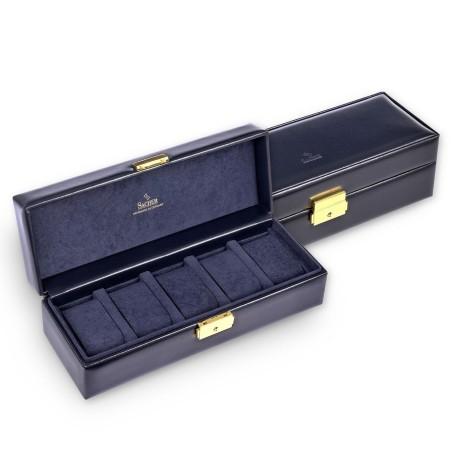 SACHER luksus urkassse / urboks i ægte blå læder - opbevar 5 ure