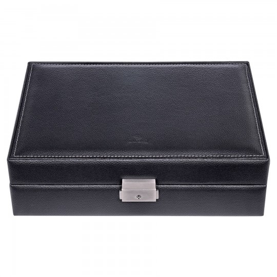 SACHER Tamigi urkassse / urboks i ægte sort læder - opbevar 10 ure