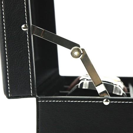 Urboks / urkasse til 8 ure - sort læder med rude