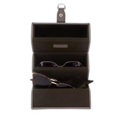 Friedrich brille etui i syntetlæder i taupe farve til 3 solbriller eller briller