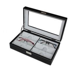 Brilleboks / brilleetui til 6 solbriller eller briller- sort kunstlæder