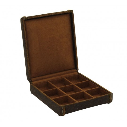 Smykkeskrin i ægte rustik læder - opbevar manchetknapper og smykker