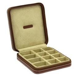 Smykkeskrin i ægte brun læder - opbevar manchetknapper, ringe