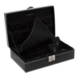 Friedrich urboks i ægte sort læder - opbevaring af 10 ure