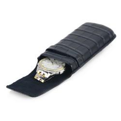 Rejse ur etui / urboks i sort læder, til 1 ur