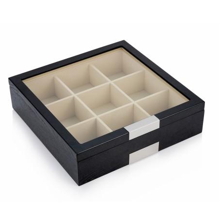 Slips boks i sort træfiner - opbevaring af 9 slips