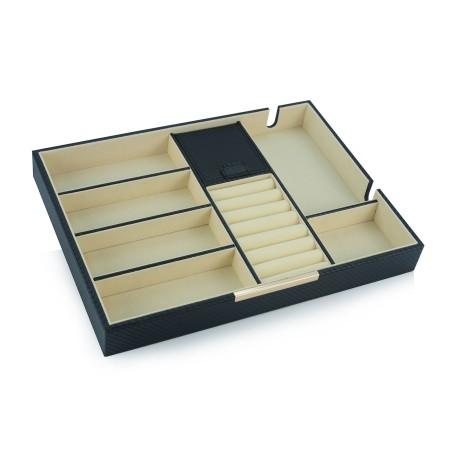 smykkebakke / smykkeskrin i sort carbon fiber finish