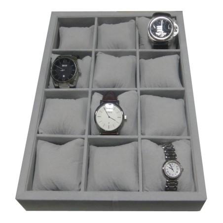 Urbakke / urkasse til 12 ure i grå velour