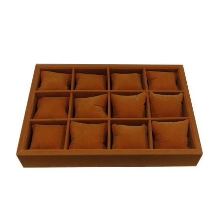 Urbakke / urkasse til 12 ure i orange brun velour